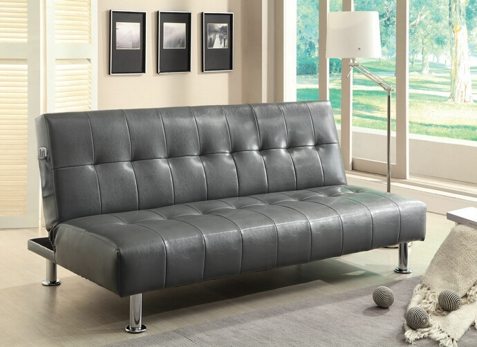 CM2669P-GY Bulle collection gray leatherette upholstered tufted top futon folding sofa bed with side pockets and chrome legs