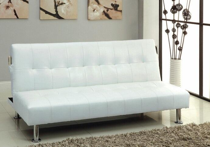 CM2669P-WH Bulle collection white leatherette upholstered tufted top futon folding sofa bed with side pockets and chrome legs