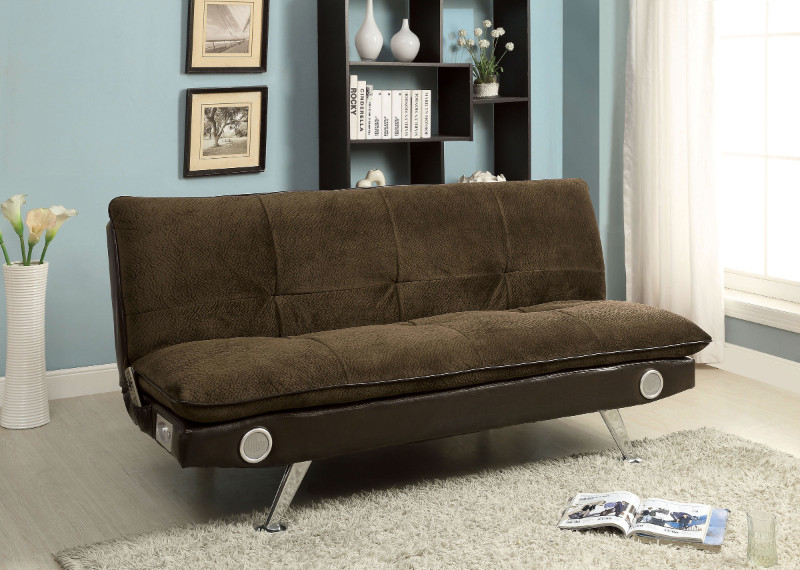 CM2675BR Gallagher collection contemporary style brown champion fabric upholstered futon sofa bed with chrome legs and Bluetooth speaker system