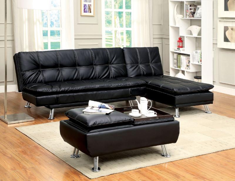 Furniture of america CM2677BK-2pc 2 pc Hauser II black leatherette futon sofa and chaise