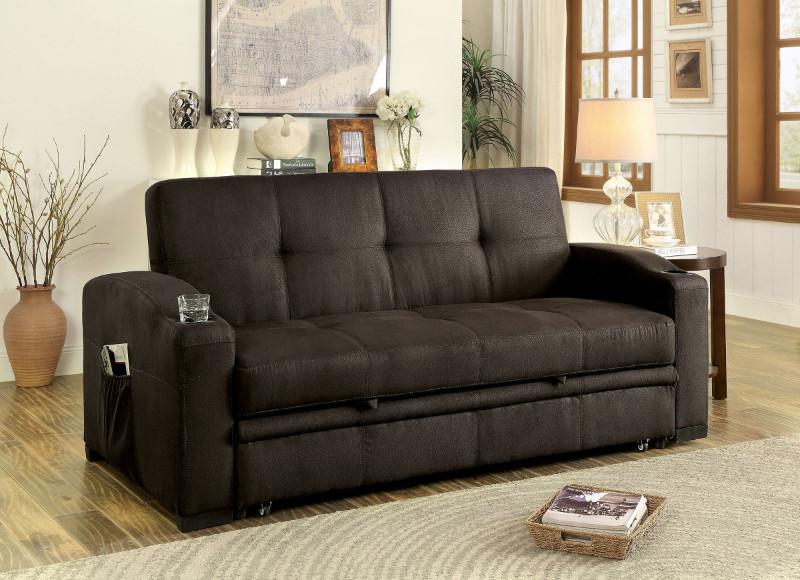 Furniture of america CM2691 Mavis dark brown fabric folding futon sofa bed