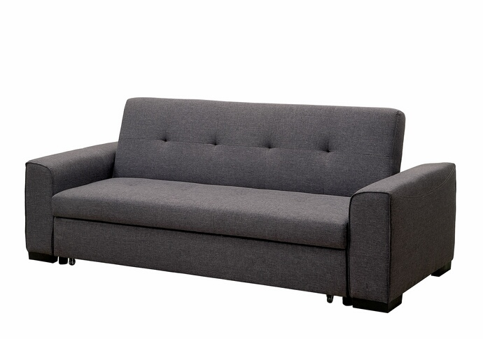 CM2815 Reilly collection gray linen like fabric upholstered folding futon sofa bed