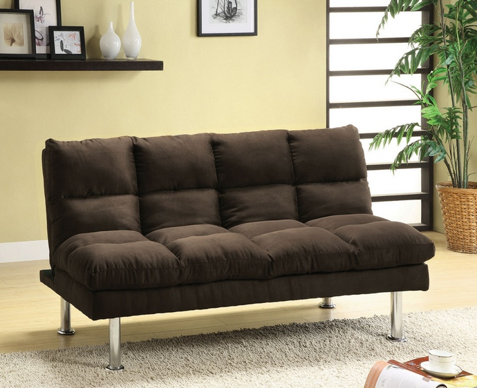 CM2902EX Saratoga II Contemporary Style Design Espresso Finish Microfiber Pillow Top Futon Sofa with Chrome Finish Support Legs