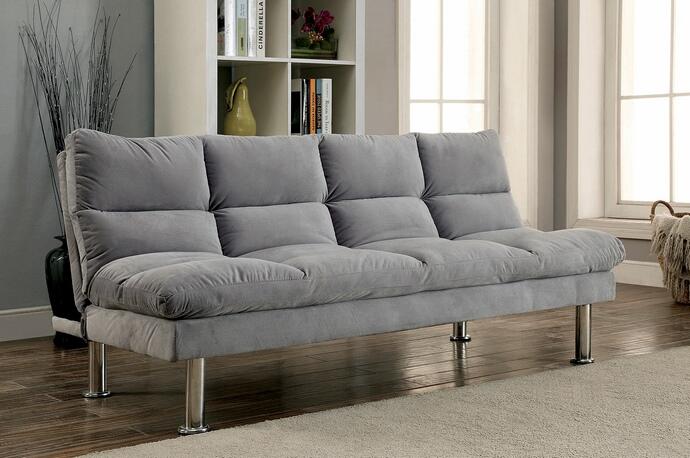 Cm2902gy Saratoga I Contemporary Style Design Light Gray Finish Microfiber Pillow Top Futon Sofa