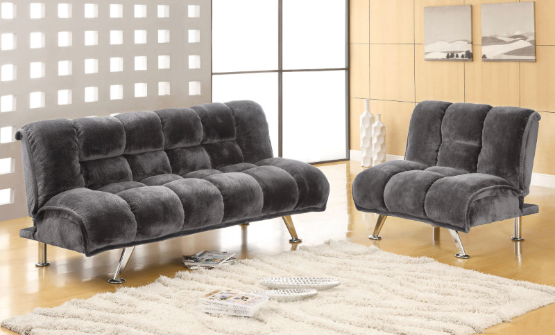 CM2904GY 2 Pc. Marbelle Contemporary Style Gray champion fabric Seat Futon/Bed Sofa and Chair Set