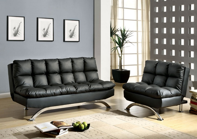CM2906BK-2pc 2 pc aristo contemporary style black leatherette futon sofa and chair with chrome legs