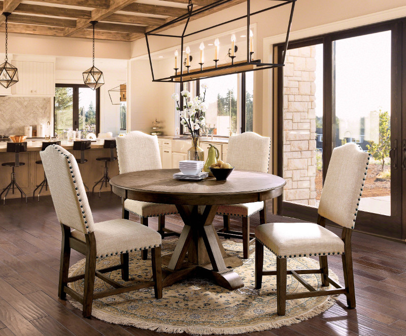 "Furniture of america CM3014RT-5PC 5 pc Julia rustic natural tone finish 54"" round dining table set"