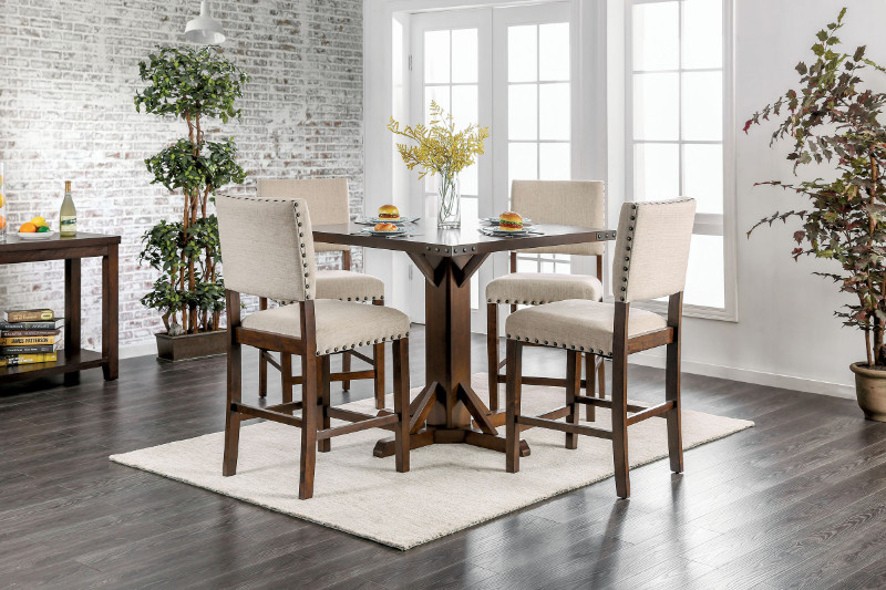 CM3018PT-5PC 5 pc Gracie oaks hong glenbrook industrial brown cherry finish wood square counter height dining table set