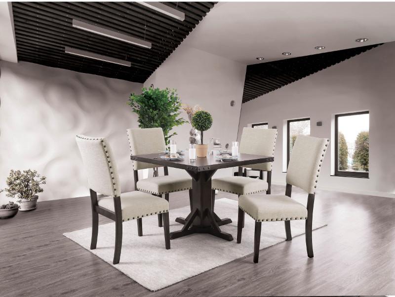 Furniture of america CM3018T-5PC 5 pc Glenbrook industrial borwn cherry finish wood square dining table set