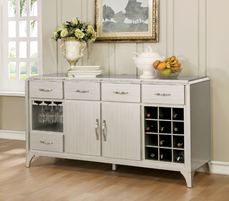 Furniture of america CM3020-SV Diocles silver finish wood dining sideboard server console table