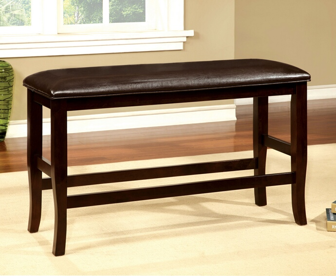 CM3024PBN Woodside collection two tone dark cherry finish wood counter height dining bench