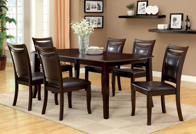 CM3024T 7 pc. woodside contemporary style dark cherry wood finish dining set with rounded ends dining table