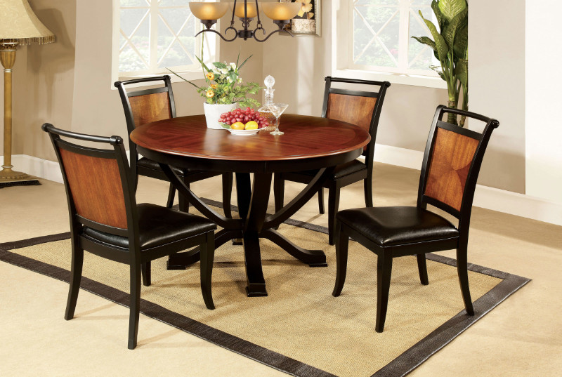 CM3034RT 5 Pc. Salida II Contemporary Style Design Round Acacia and black finish wood dining table set.