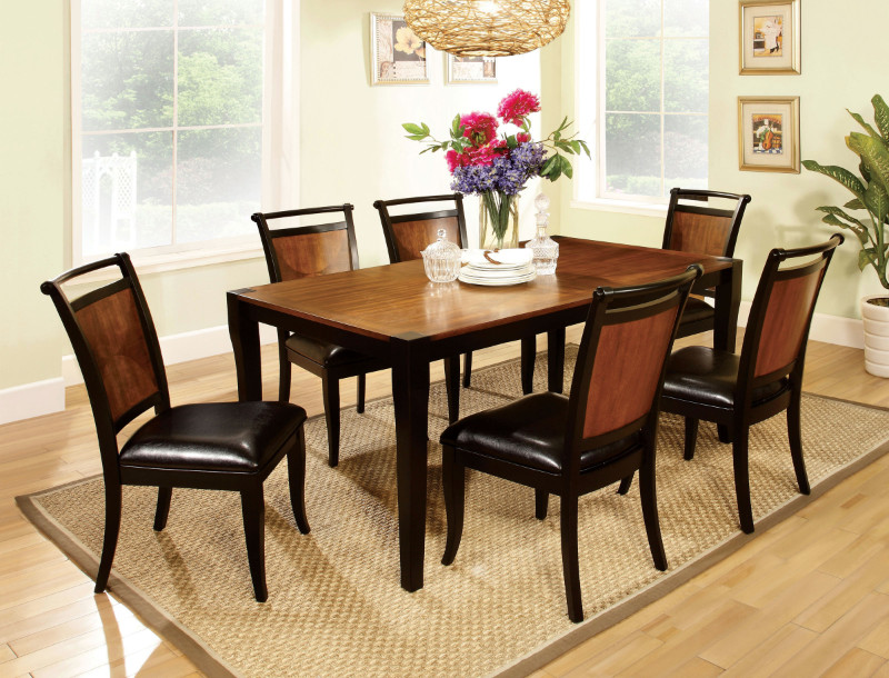 CM3034T 7 Pc.Salida I Contemporary Style Design Acacia and black finish wood dining table set