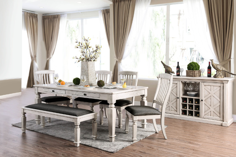 Furniture of america CM3089T-6PC 6 PC Georgia antique white finish wood country dining table set