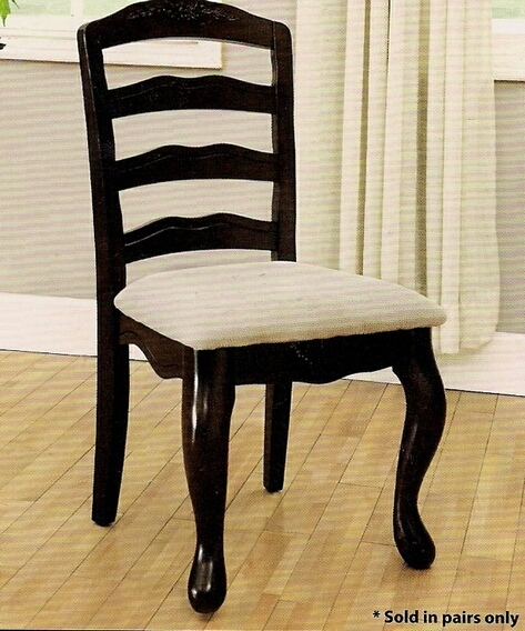CM3109SC Set of 2 townsville side chair upholstered light fabric seat in a dark walnut wood finish frame