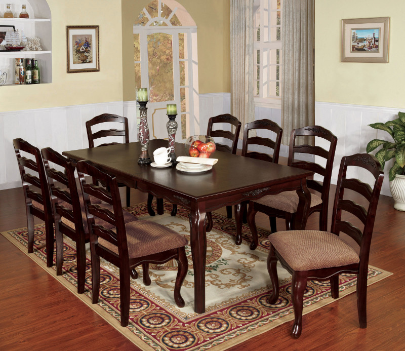 Furniture of america CM3109T-78 9 pc townsville ii dark walnut finish wood dining table set