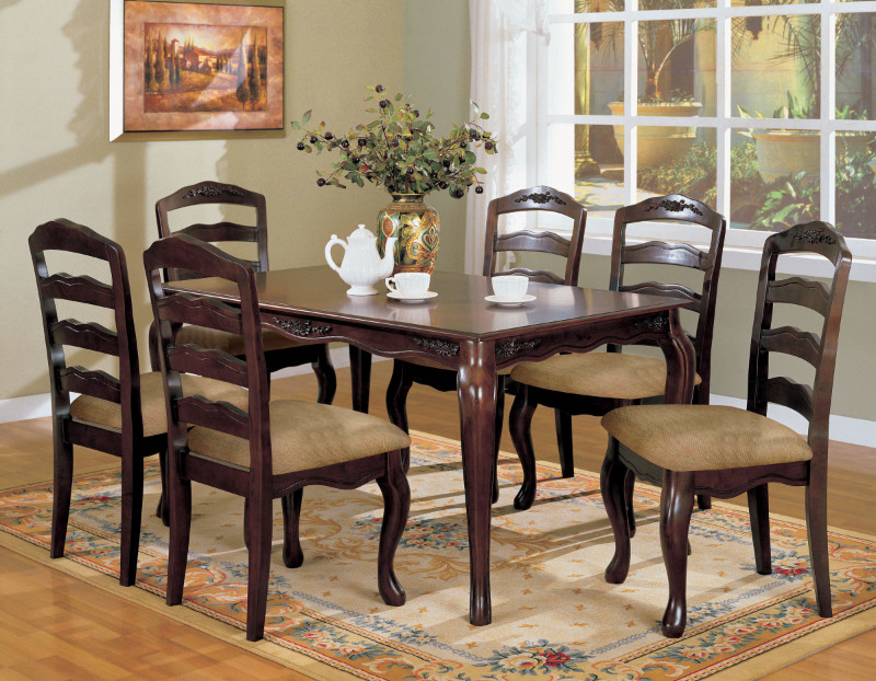 Furniture of america CM3109T 7 pc townsville dark walnut wood finish dining table set