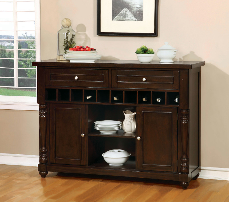 Furniture of america CM3133-SV Hurdsfield antique cherry finish wood dining sideboard server console table