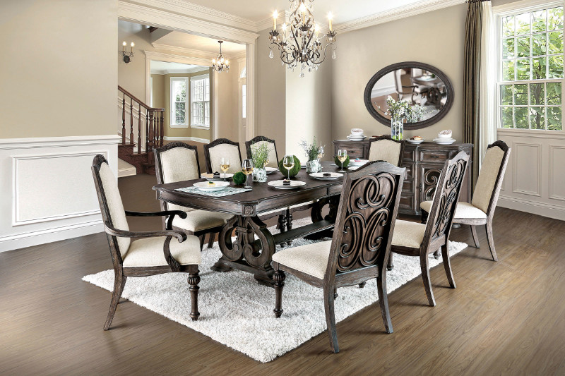 Furniture of america CM3150T 9 pc arcadia rustic natural tone finish wood trestle base dining table set