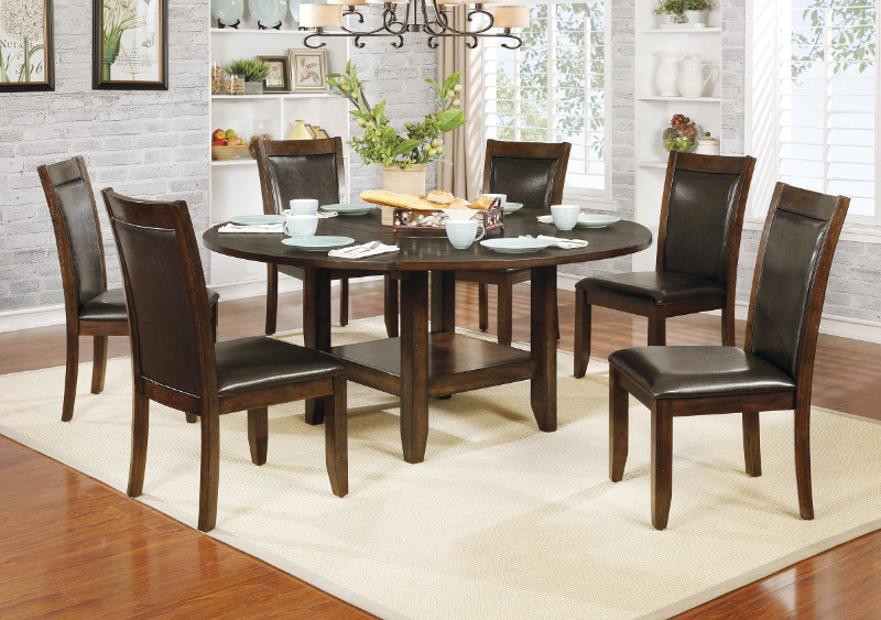 """Furniture of america CM3152RT-7PC 7 pc meagan II rustic plank brown cherry finish wood 65"""" round drop leaf dining table set"""