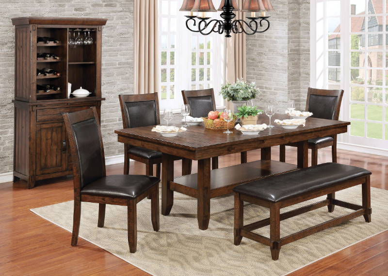 Furniture of america CM3152T-6PC 6 pc meagan i rustic plank brown cherry finish wood dining table set