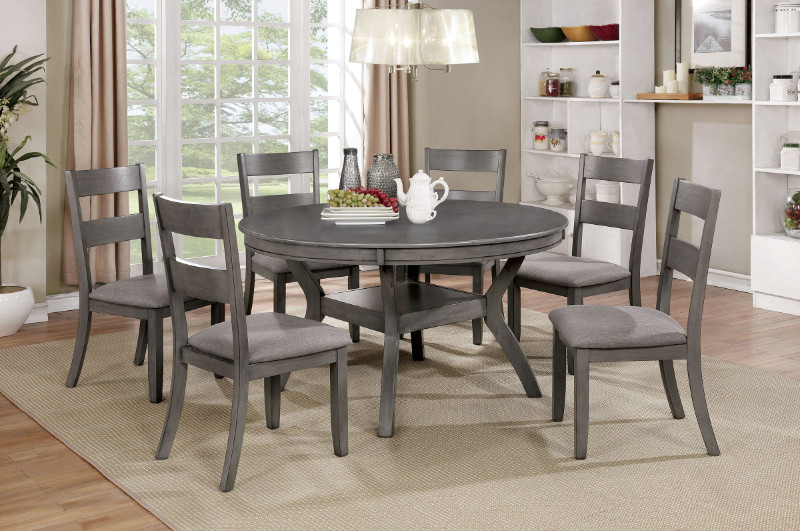 "Furniture of america CM3162RT-7PC 7 pc Juniper gray finish wood 54"" round dining table set"