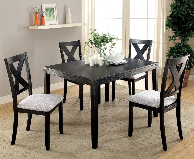 Furniture of america CM3175T-5PK 5 pc Glenham brushed black finish wood dining set