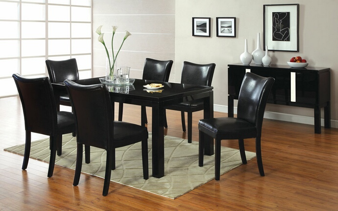 7 Pc. Lamia I Contemporary Style High gloss black wood finish Dining Set with black leather like vinyl upholstered chairs