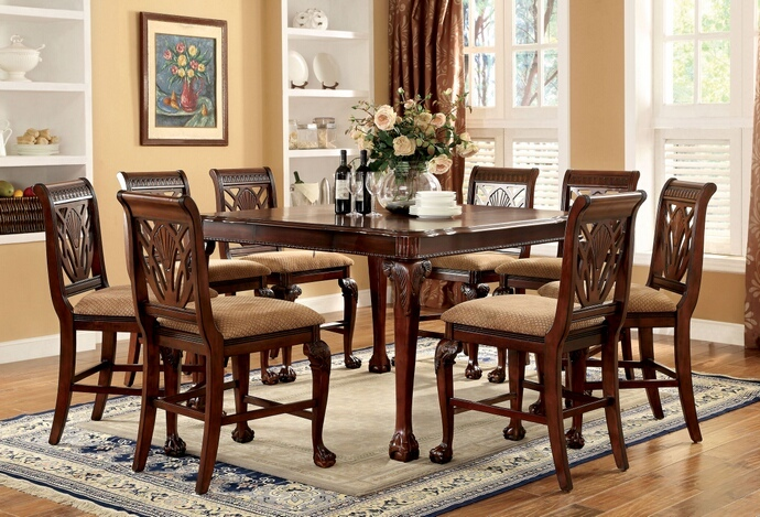 CM3185PT 7 pc Petersburg II collection contemporary style cherry finish counter height dining table set with carved accents