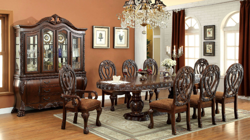 Furniture of america CM3186CH 7 pc wyndmere cherry finish wood elegant formal style double pedestal dining table set