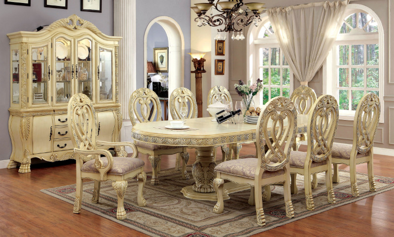 CM3186WH 7 pc Wyndmere traditional style antique white finish wood elegant formal style double pedestal dining table set with intricate designs