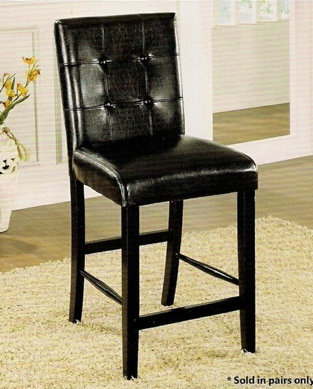 CM3188BK-PC Set of 2 atlas iii counter height chair leatherette back and seat with a black wood finish legs