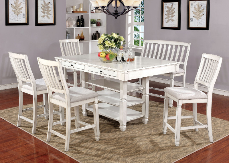Cm3194pt 6pc 6 Pc Kaliyah Antique White Finish Wood Country Counter Height Dining Table Set