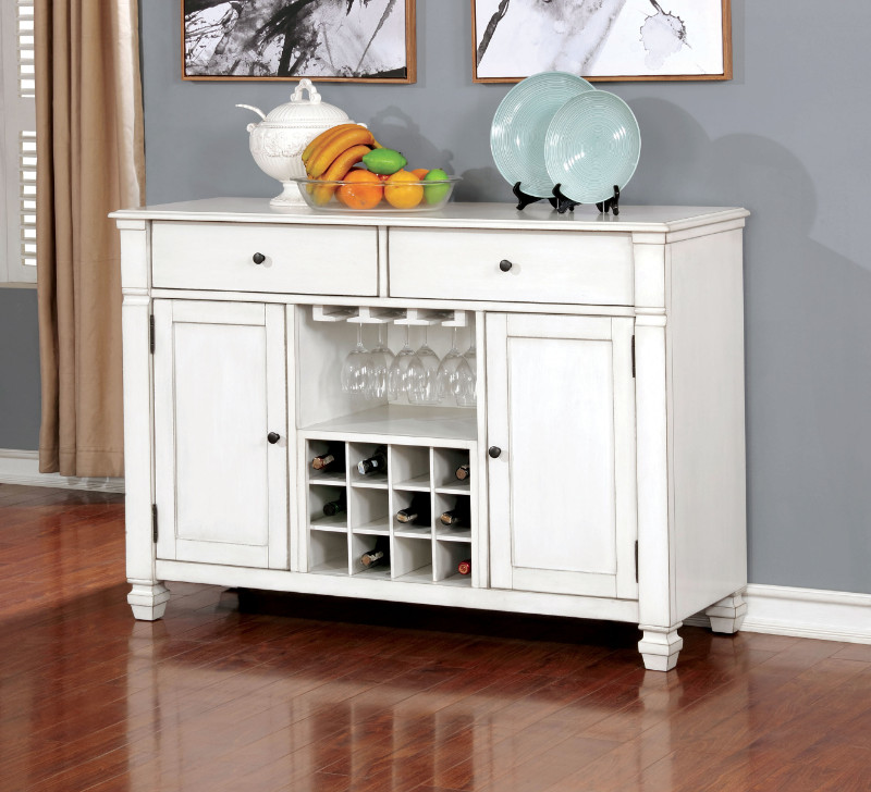 Furniture of america CM3194-SV Kaliyah antique white finish wood dining sideboard server console table