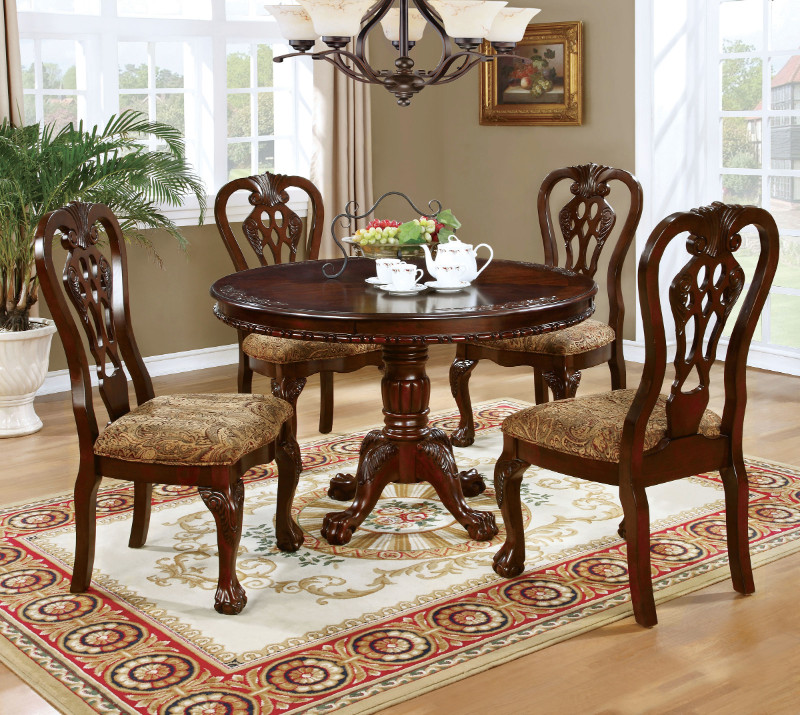 "Furniture of america CM3212RT-5PC 5 pc elana brown cherry finish wood 48"" round dining table set"