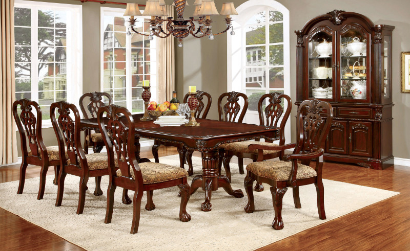 CM3212T 7 pc Elana collection traditional style brown cherry finish wood dining table set