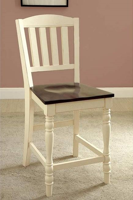 CM3216PC Set of 2 harrisburg vintage white dark oak finish wood counter height dining chairs
