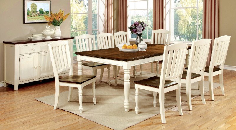 CM3216T 7 pc harrisburg collection country style two tone vintage white and dark oak finish wood dining table set with turned legs