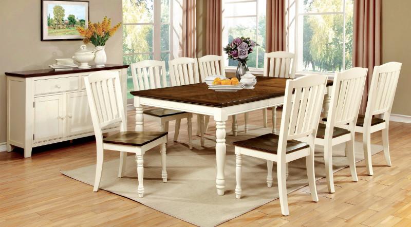 Furniture of america CM3216T-7PC 7 pc harrisburg vintage white and dark oak finish wood dining table set