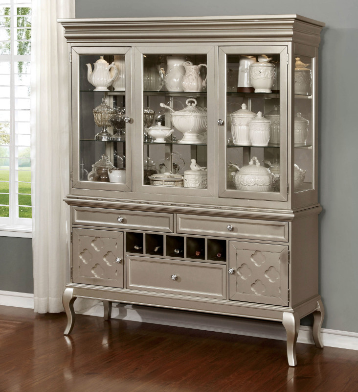 Furniture of america CM3219-H-SV Amina silver finish wood dining sideboard server and hutch cabinet