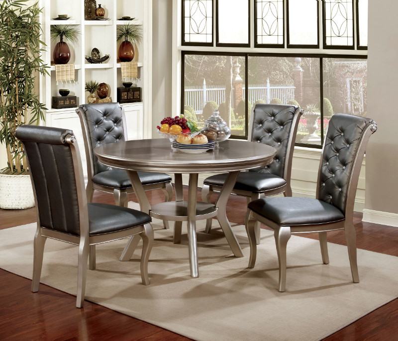 Furniture of america CM3219-RT 5 pc amina ch&agne finish wood 48  round dining & CM3219-RT 5 pc amina champagne finish wood 48