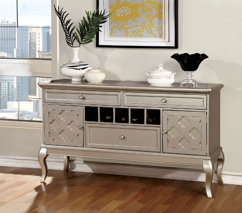 Furniture of america CM3219-SV Amina silver finish wood dining sideboard server console table