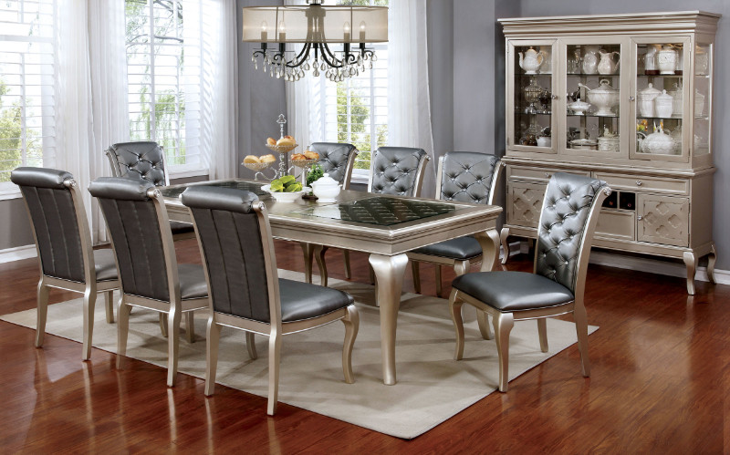 Furniture of america CM3219T-7PC 7 pc amina champagne finish wood dining table set with glass insert top