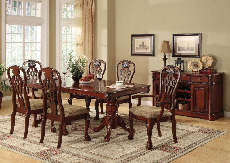 Furniture of america CM3222T 7 pc george town warm cherry finish wood double pedestal dining set