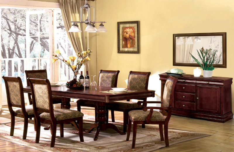 Furniture of america CM3224T 7 pc St nicholas i cherry finish wood double pedestal dining table set