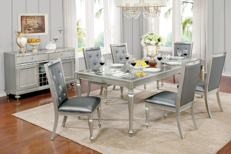 CM3229T-7PC 7 pc Rosdorf park lindsey sarina silver finish wood with tempered glass inserts dining table set