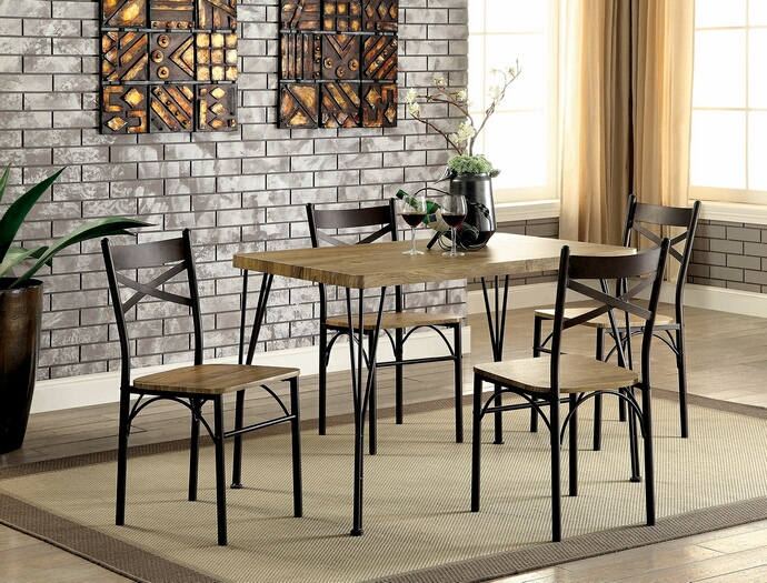 CM3279T-43-5PK 5 pc banbury industrial style weathered finish wood and dark bronze metal legs bistro table and chairs