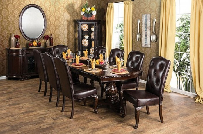 CM3319T-3319L-SC-7PC 7 pc bellagio brown cherry finish wood double pedestal dining table set