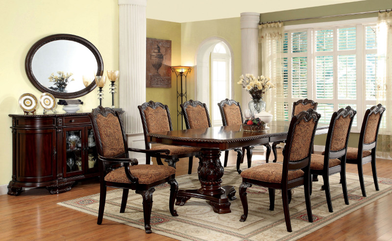"""7 pc bellagio brown cherry finish wood double pedestal dining table set. This set includes the table with two leaves , 6 - side chairs with optional padded backs or open backs padded backs on the arm chairs. Table measures 44"""" x 72"""" L ( 108"""" L with 2 - 18"""